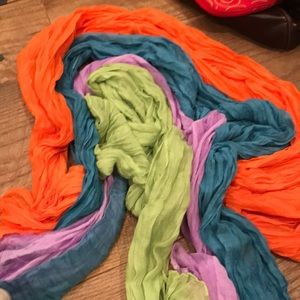 All different color scarves